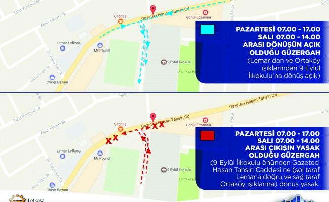 Lefkoşa'da yeni trafik uygulaması