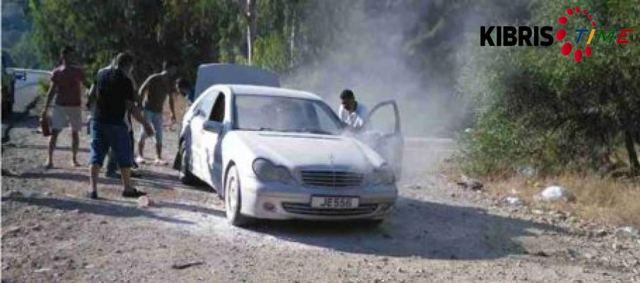 Lefkoşa-Girne anayolunda bir araç alev aldı