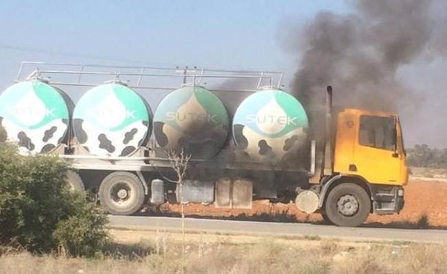 Süt tankeri alev aldı!