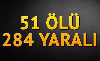 51 Ölü 284 yaralı...