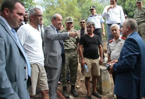 Tatar yangın çıkan bölgede incelemelerde bulundu