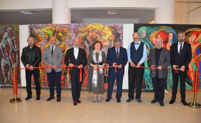 Kazakistanlı sanatçıların sergileri YDÜ'de açıldı
