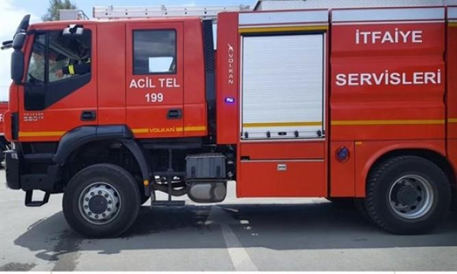 Haspolat'ta bir iş yerinde yangın çıktı