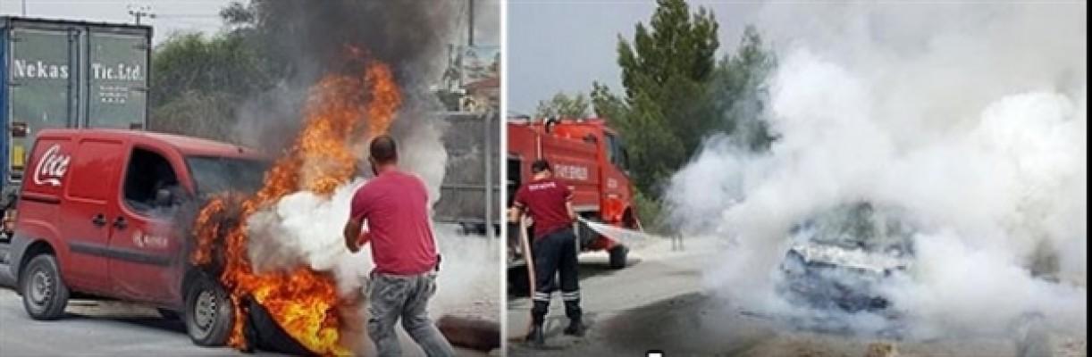 Ortaköy'de araç yangını…