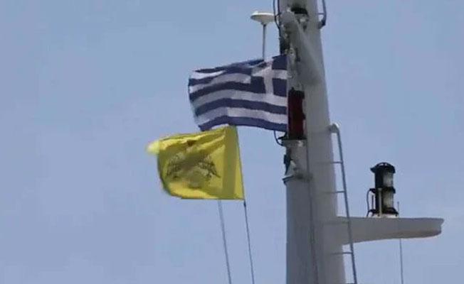 ABD gemisinde Bizans bayrağı çekildi