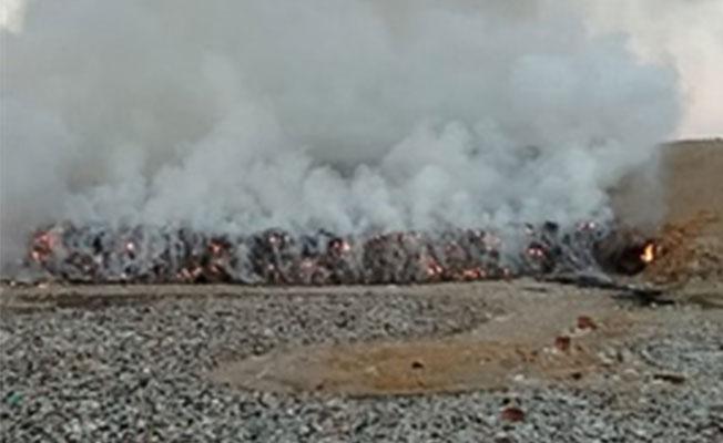 Güngör çöplüğünde yangın çıktı