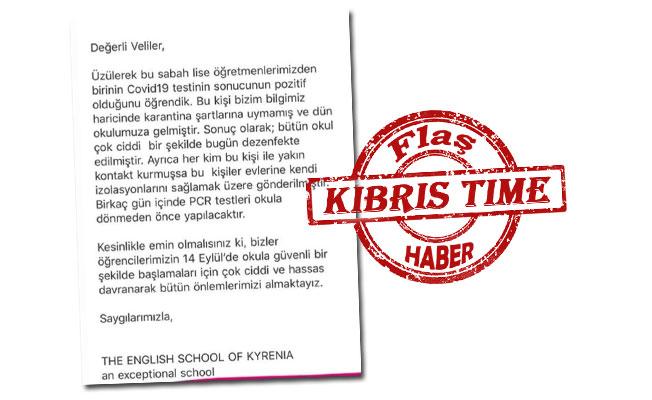 The English School of Kyrenia: Öğretmenlerimizden biri pozitif