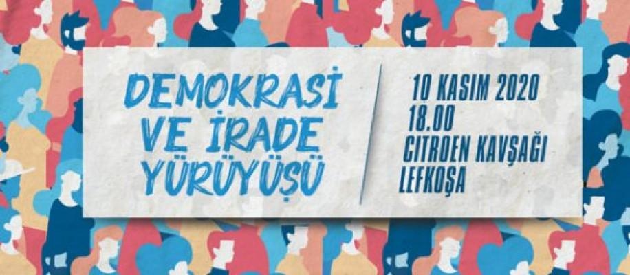 """""""Demokrasi ve irade"""" yürüyüşü yarın Lefkoşa'da yapılacak"""