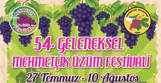 """""""54. GELENEKSEL MEHMETÇİK ÜZÜM FESTİVALİ"""" YARIN BAŞLIYOR"""