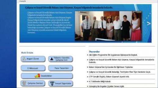 ÇALIŞMA BAKANLIĞI'NIN WEB SİTESİ YAYINDA