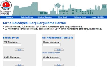 """GİRNE BELEDİYESİ """"BORÇ SORGULAMA PORTALI"""""""
