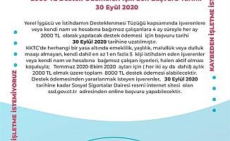2000 TL destek ödemeleri için son başvuru tarihi uzatıldı