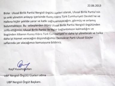 UBP Nergisli Örgütü DP Ulusal Güçler'e Katıldı