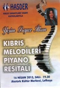 """YEŞİM BEYAZ İLKAN'DAN """"KIBRIS MELODİLERİ"""" RESİTALİ"""